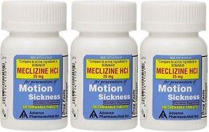 Meclizine-25-mg-Generic-Bonine-Motion-Sickness-Chew-Tabs-100-per-Botlle-3-PACK