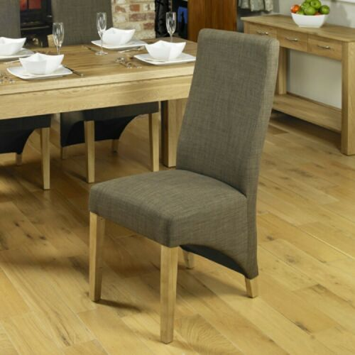 Fusion Solid Oak Furniture Hazelnut Fabric High Back Upholstered Chairs PAIR