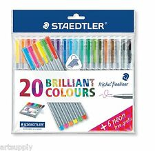 Staedtler Triplus Fineliner/Triangular Pens/20 Brilliant Colours+6 Neon/StandBox