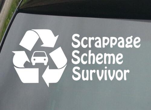 LARGE Scrappage Scheme Survivor FUNNY CAR STICKER VINYL JDM VAG DECAL NOVELTY VW