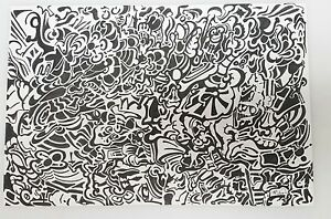 Details About Signed Schneider Original Pen And Ink Drawing Abstract Black White 12x18
