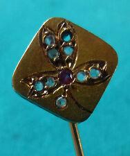 EPINGLE DE CRAVATE-TIE PIN-GOLD-OR 18 k -TREFLE- diamants-rubis