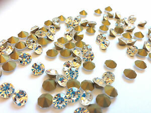 Glass-Pointed-Back-Crystal-Rhinestone-Cone-Gold-Back-Chantons-Arts-amp-Crafts