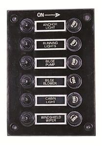 marine 6 gang fuse switch panel 12v waterproof black. Black Bedroom Furniture Sets. Home Design Ideas