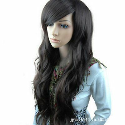 Women Lady Natural Black Fancy Party Function Wavy Curly Long Hair Full Wig Wigs