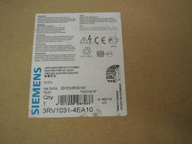 Nuevo Siemens 3RV1-031-4EA10 Motor Inicio Protector 3RV10314EA10