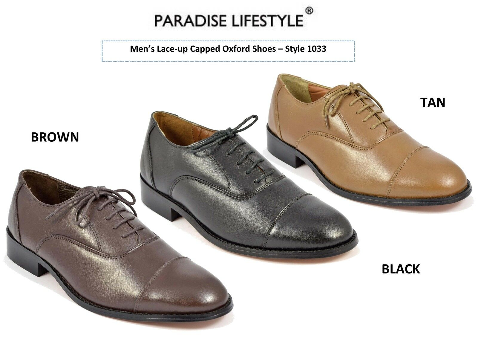 Mens Leather shoes Oxford Capped Toe Leather Sole Handmade Lace-up Brogues Size