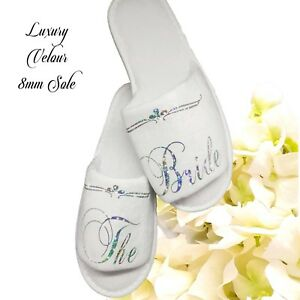Bride-Bridesmaid-Bridal-Slippers-Hen-Party-Sparkling-Silver-or-Pink