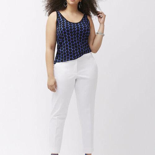 Lane Bryant Modernist Lena Ankle Pants White Tummy Control Size 28 Curvy Fit