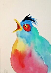 Artist Trading Card artist duck  miniature collectible watercolor painting Art by Delilah