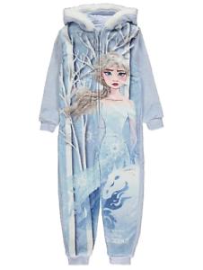 Disney Girls Official Frozen 2 Elsa Soft Fleece Hooded Onesie 1 to 8 Years BNWT