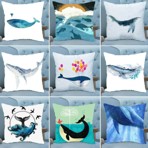 18/'/' Whale Animal Print Polyester Pillow Case Throw Cushion Cover Home Decor