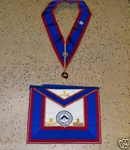 13691/ Vintage Masonic APRON & COLLAR ~ Grand Lodge Mark Master Masons / Regalia
