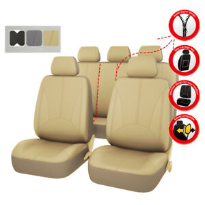 Universal-Car-Seat-Covers-Beige-Faux-Leather-Airbag-Compatible-For-Car-TRUCK-Kia