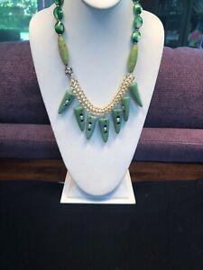 Vintage Wow Crystal green Stone rhinestone bohemian bib statement necklace