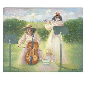 """"""" Concert Dans Le Parc """" Par Anthony Sidoni 1996 Signée Huile Sur Toile"""