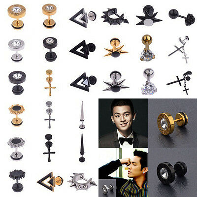 1Pcs Black Silver Men's Barbell Gothic Stainless Steel Crystal Ear Studs Earring