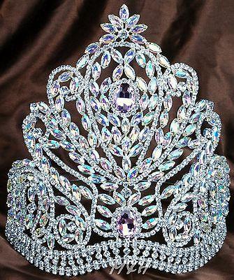 "Gorgeous Beauty Pageant Crown Brides Hair Tiara 9"" AB Rhinestones Wedding Party"