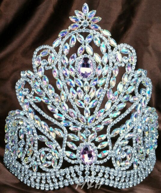Luxurious AB Crystal Tiara Crown Wedding Bridal Headband Beauty Pageant Costumes
