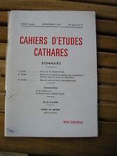 CAHIERS études CATHARES N°77 1978 Déodat de Roché Plotin Franc-Maçonnerie