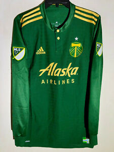 the best attitude 2ce70 9ff5a Details about Adidas Authentic MLS Jersey Portland Timbers Long Sleeve Team  Green sz M