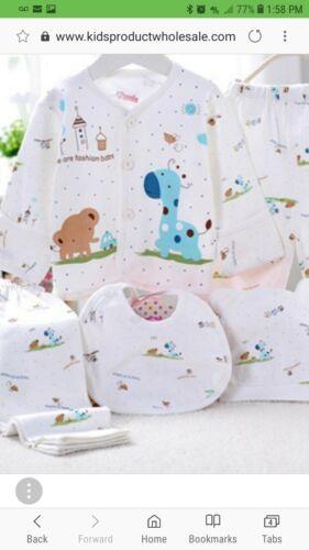 0-3 Month Newborn Infant 5 Piece Outfit Set Boy