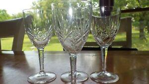 Vintage Cordial Glasses Etched Leaf Design Bulbous stem 4 3 oz glasses