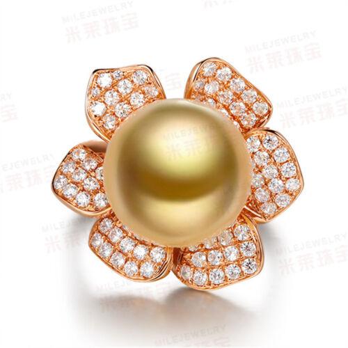 18K or jaune rempli de femmes Pearl Crystal flowerrings Hommes Anneaux J016