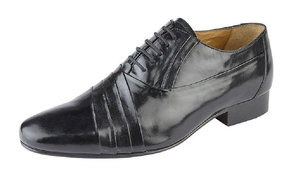 Da Uomo Argentino in Pelle Nera Kensington Argentino Uomo Oxford Cravatta Pleated Scarpe cece62