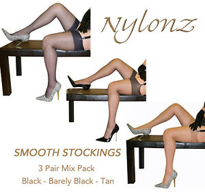 3-pairs-NYLONZ-Silky-Smooth-Stockings-MIX-COLOUR-PACK