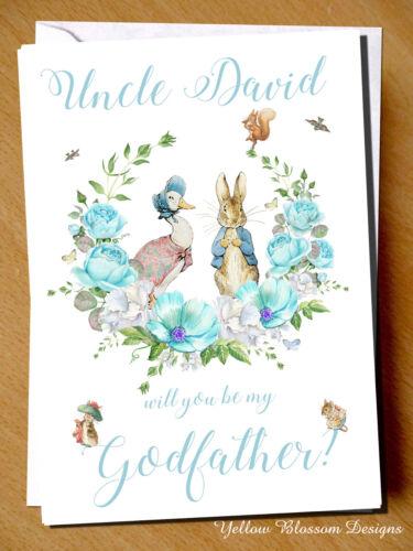 Personnalisé Peter Rabbit parrain marraine Godparent Carte Baptême Baptême