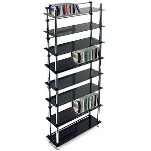 8 brett dvd blu ray cd medien aufbewahrung regale schwarz silber ebay. Black Bedroom Furniture Sets. Home Design Ideas