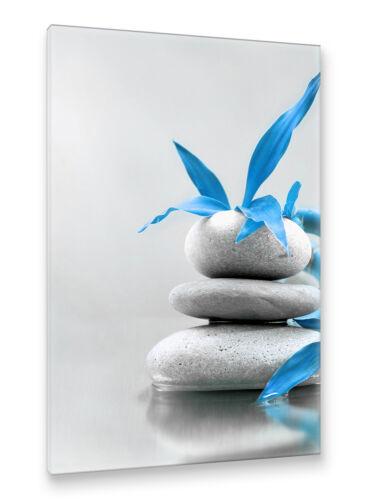 Postereck Leinwand 0263 Steine am Wasser Wellness Spa III Entspannung blau