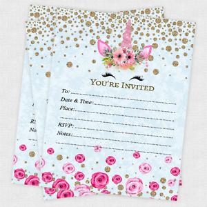 girl birthday invitations blue gold unicorn invites party supplies