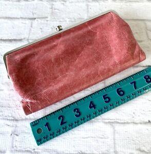 Hobo-International-Clutch-Mauve-Pink-Leather-Silver-Frame-Purse-Kiss-Lock-Zip