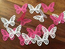 100 + Fucsia Rosa Blanco Grande Perfecto Mano Grabado Mariposa Mariposas de papel 3d