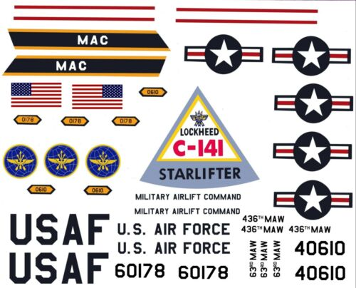 AURORA C-141A STARLIFTER REPRODUCTION DECALS ONLY!