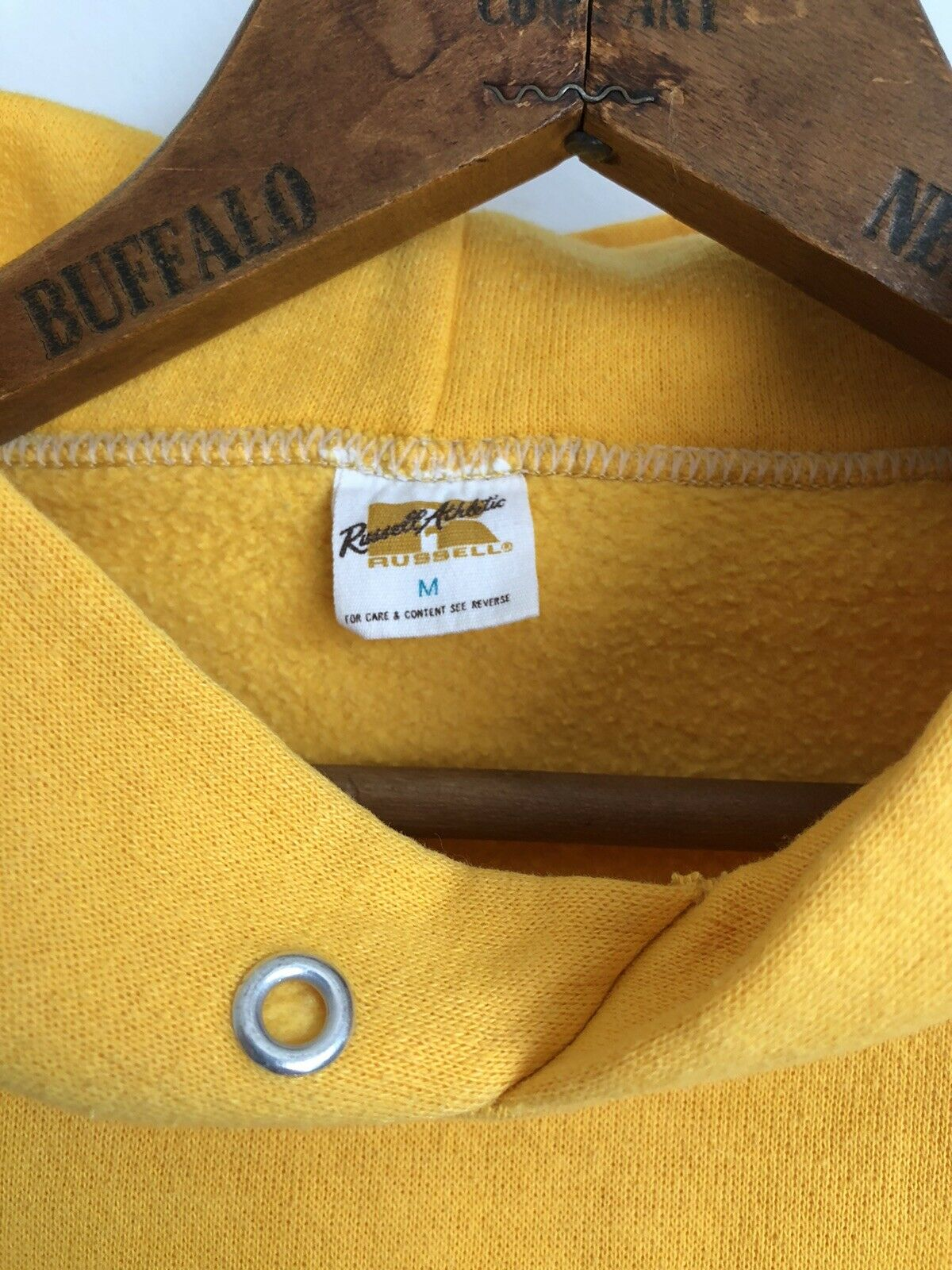 VTG 70s Russell Athletic Gold Yellow Hoodie Sweat… - image 8