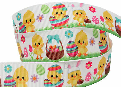 "Grosgrain Happy Easter with Easter Eggs Easter Bunny Ribbon 7//8/"" 22mm"