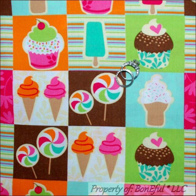 BonEful FABRIC FQ Cotton Quilt Birthday Block Ice Cream Lolli*pop Cupcake Square