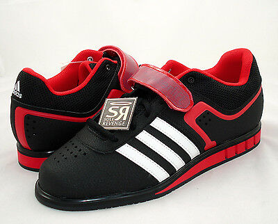 New adidas POWERLIFT 2.0 Weightlifting Mens Shoes Black White Red Weight Lifting