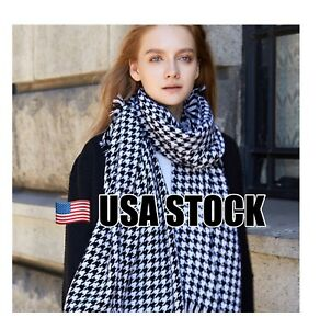 8a8dda2ef Image is loading Women-Oversized-Scarf-Wrap-Shawl-Houndstooth-Black-and-