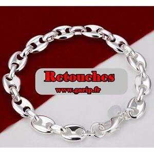 602140c38df6e Détails sur Bracelet grains de cafe plaqué argent 925 20cm 8mm mixte homme  femme