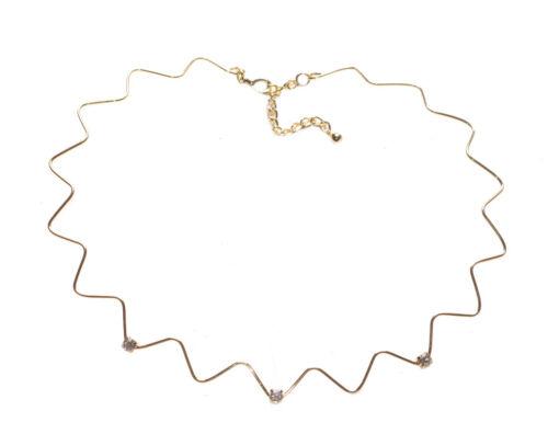 Regal Diamanté Cubo trío /& Golden Star Gargantilla Collar Ajustable Zx230