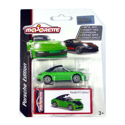 Majorette 212053153 Porsche 911 Carrera S Cabrio grün-Porsche Edition 1:64 NEU!°