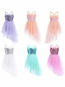 UK-Kids-Girls-Lyrical-Dance-Dress-BalletGym-Latin-Leotard-Tutu-Skirt-Costume