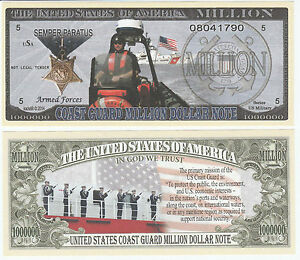 US Coast Guard  Dollar Bill  Collectible--Novelty MONEY-ITEM-C FAKE
