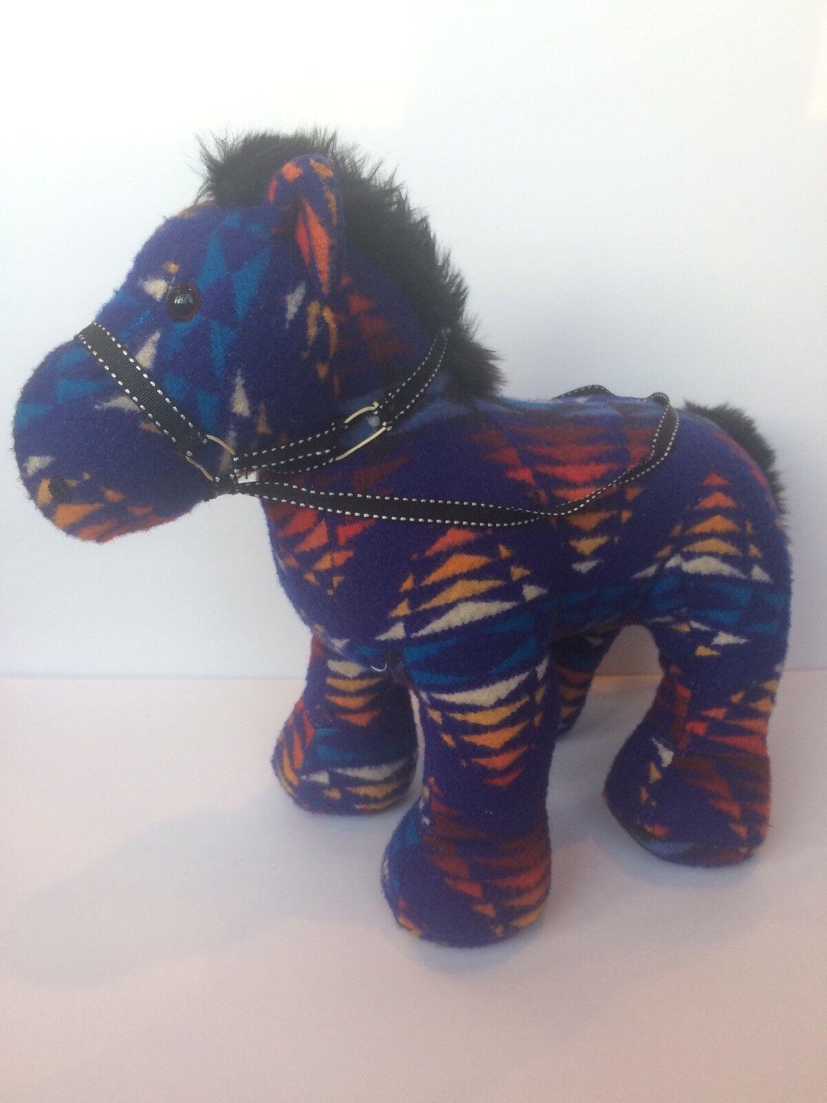 "Pendelton By By GUND Franklin Wool Horse Plush 14"" Native American Blanket bluee"