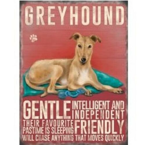 GREYHOUND VINTAGE RETRO 20 CM STYLE METAL HANGING DOG SIGN BREED CHARACTER