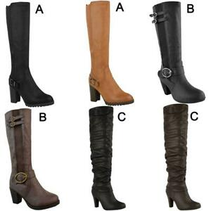 Womens-Ladies-Knee-Calf-High-Boots-Block-Heels-Stretchy-Thigh-Shoes-Grip-Size